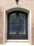 Luxe Double porte d'entrée de fer avec double panneau de verre isolé