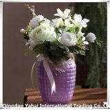 Vase en verre de fleurs de couleur/jar avec motif de la paille tissée