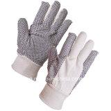 Вязаные манжеты белый хлопок Canvas садоводство перчатки с ПВХ точек