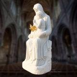 소년, 종교적인 동상 조각품을 붙들어 백색 대리석 St 메리