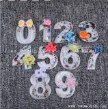 卸し売り方法番号3D文字パッチの水晶のビードのモチーフのアップリケの衣服のアクセサリ