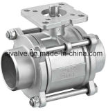 3-PC Válvula de bola de soldadura con placa de fijación (ISO5211)
