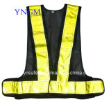 Yellow Reflective Tapeの黒いSafety Belt Vest