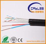 Alta calidad UTP Cat5e solo cobre puro con cable de alimentación