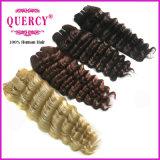 Rubia de cabello onda profunda trama grado 7A cabello virgen sin enredos sin arrojar color dorado profundo brasileño onda cabello humano.