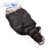 Chiusura allentata brasiliana del merletto dell'arricciatura dei capelli umani del Virgin