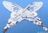 나비는 복장 의복 부속품을%s Sequined 레이스 고리 직물을 착색한다