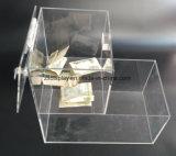 Más Vendidos Caja de caramelos de donación de acrílico con cerradura y llave