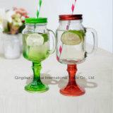 Bottiglia di vetro colorata del muratore del calice lungo del gambo con la maniglia