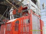 Double ascenseur Sc200/200 d'élévateur de matériau de construction de cage de 2 tonnes