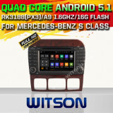 Witson Android 5.1 voiture DVD GPS pour Mercedes-Benz S Classe avec chipset 1080p 16g ROM WiFi 3G Internet DVR Support (A5518)