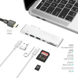 "C hub USB, Alumínio Tipo C dongle adaptador do cubo para 2016/2017 MacBook Pro 13"" & 15"" HDMI 4K, 40gbs Raio 3 5K@60Hz, USB-C dados, 2 USB 3.0 e SD/Micro Card"