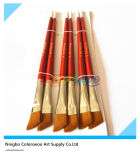 6PCS Wooden Handle Nylon Angular Hair Artist Brush voor Painting en Drawing (rode kleur)