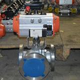 SS-pneumatisches/elektrisches Dreiwegeflansch-Kugelventil