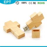 Croix de bois en forme de lecteur Flash USB Trousseau pour échantillon gratuit
