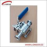 Sanitaria de acero inoxidable de tres piezas de la válvula de bola sujeta con cerradura de la manija