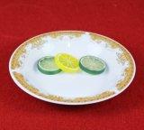 白いカラー金の円形の陶磁器の版