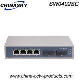 Comutador Ethernet com 4 portas RJ45 + 2 portas melhoradas (SW0402SC)