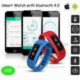Bluetooth 4.0 Slimme Armband met Geschiktheid en IP56 Waterdichte H6