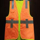 Maglia di sicurezza con ed arancione di influenza uso affrontato il doppio giallo