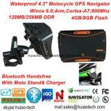 """安く4.3の"""" BluetoothのヘッドセットGPSの操縦士との防水スポーツの処置のオートバイのバイク車手持ち型GPSの運行"""
