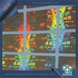 etiqueta engomada de la seguridad del holograma del laser 3D en hoja