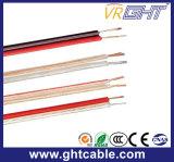 Cabo de alto-falante flexível transparente vermelho e preto (2x1.0mmsq CCA Conductor)