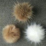 Большой Pompom шерсти Raccoon Faux с кнопкой на Pompom
