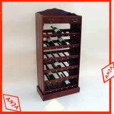木のワインの陳列だなのワイン・ボトルの陳列台