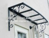 Toldo resistente de la ventana del pabellón de la puerta del balcón del viento al aire libre del pabellón del hierro de la belleza (YY-Q)