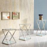 Hauptmöbel-GlasEdelstahl-Seiten-Tisch-Set