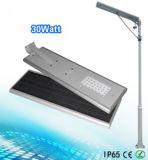 O APP controla 30W todo em uma luz de rua solar do diodo emissor de luz