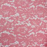 야드 도매에 의하여 주문을 받아서 만들어진 어두운 분홍색 꽃 & 잎 디자인 자카드 직물 레이스