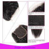 peruanische Silk niedrige geblichene das Schliessen 100% des Menschenhaar-8A knotet verworrenes gerades Haar 4*4inch