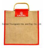Eco Friendly en vrac de gros sac de toile de jute Jute naturel sacs fourre-tout avec poignée de canne à sucre