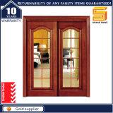 Painel duplo de madeira sólida Fibra de vidro Porta de madeira interior moderna