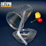 Copo de sumo límpido de plástico personalizada com tampa
