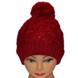 Les femmes ont tricoté des chapeaux de Beanie de jacquard de l'hiver avec grand POM POM
