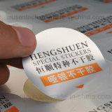 Het matte Afdrukken van de Stickers van de Laminering Zilveren Kleur Gepersonaliseerde Zelfklevende Vinyl