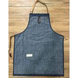 Aventais de jardinagem personalizados da sarja de Nimes azul durável com os bolsos de couro da ferramenta