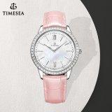 Definição de moda de relógio de quartzo Ms Diamantes em relógio de pulso com alça em couro 71313