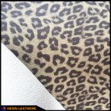 Van de luipaard van de Bloem het Synthetische Pu Leer van de Korrel voor Schoenen die hx-L1704 voeren