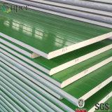 El panel de la azotea o de pared del emparedado de PU/Polyurethane para el edificio de la estructura de acero
