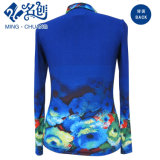 Ozean-Blau Multi-Muster Taste Drehen-Unten Muffen-elastische dünne Bluse