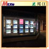 Caixa de luz de LED de acrílico dupla face para expositores de imóveis