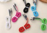 Portable 2 em 1 cabo universal retrátil do carregador do telefone móvel de carretel de cabo do USB cabido para o iPhone e o Android