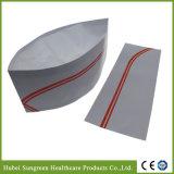 Sombrero de papel del cocinero del forraje con las tiras rojas dobles