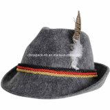 Grau geglaubter alpiner Oktoberfest deutscher bayerischer Kostüm-Hut mit Feder