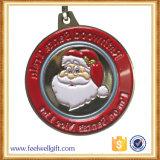Medallas de Santa de la Navidad de la aleación del cinc del grabado del esmalte de Custome