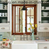 Guichet en aluminium en verre personnalisé de tissu pour rideaux de double en bois de couleur